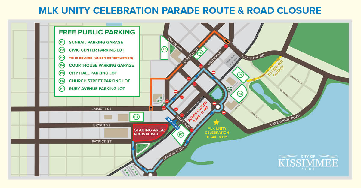 NR 18-002 MAP  Martin Luther King Jr. Unity Celebration Parade Brings Road Closures