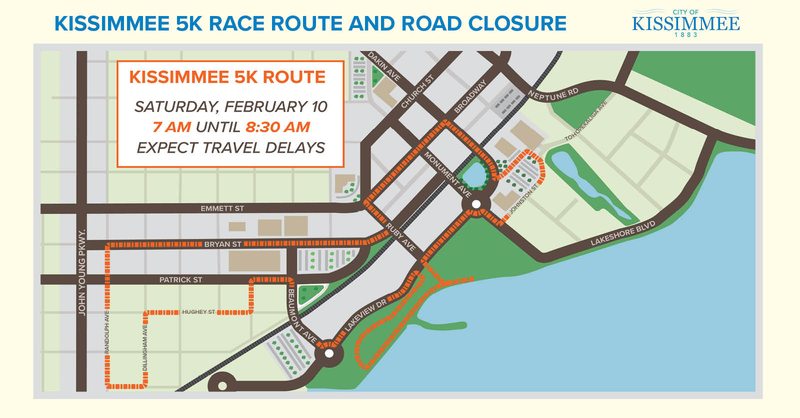 NR 18-015 MAP Kissimmee's Mainstreet 5K Brings Roads Closures