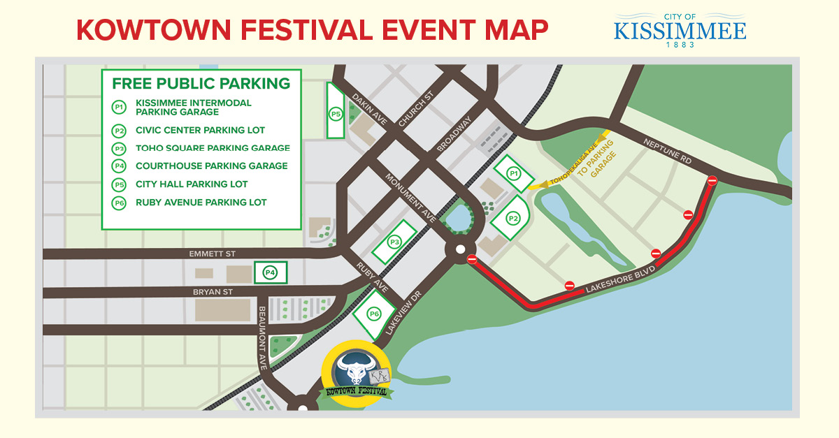 2018 Kowtown Event Map Kissimmee Lakefront Park