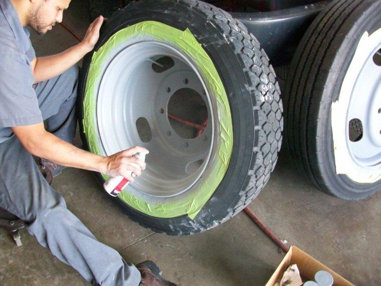 Staff Repairing a tire