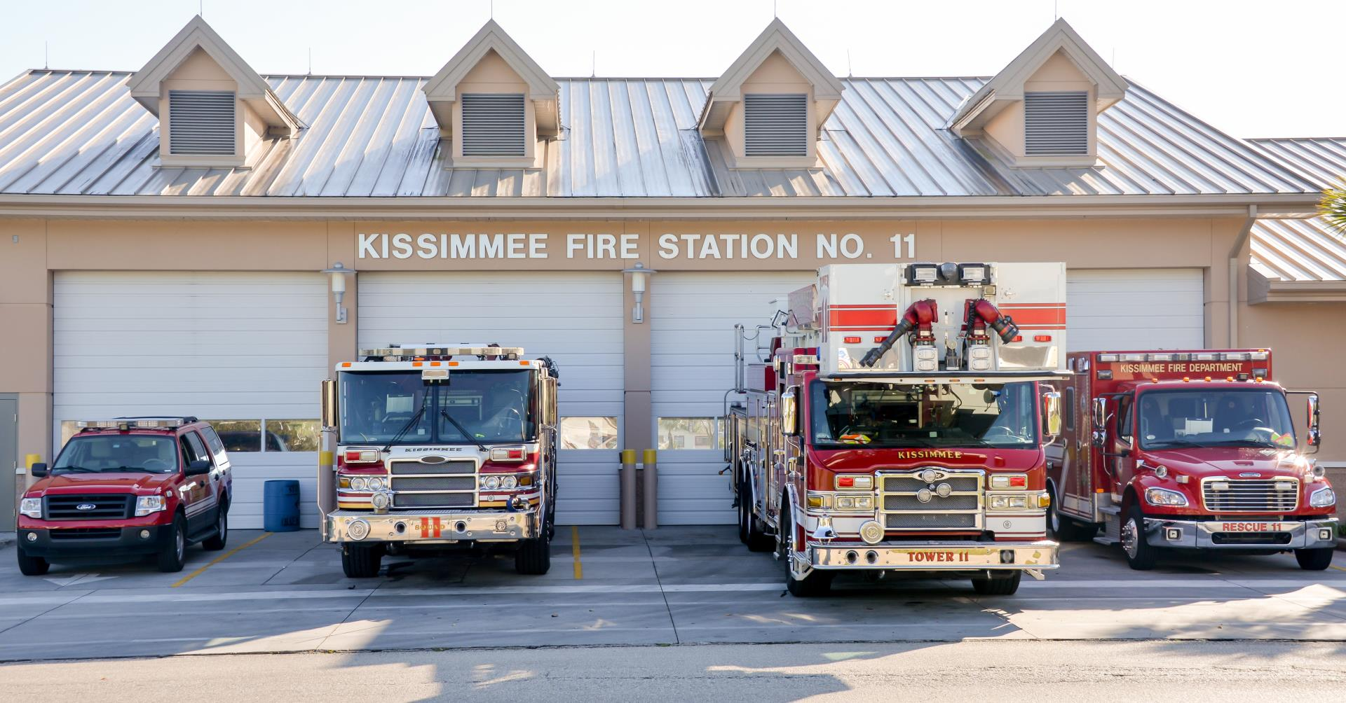 Kissimmee Fire Station 11 with trucks
