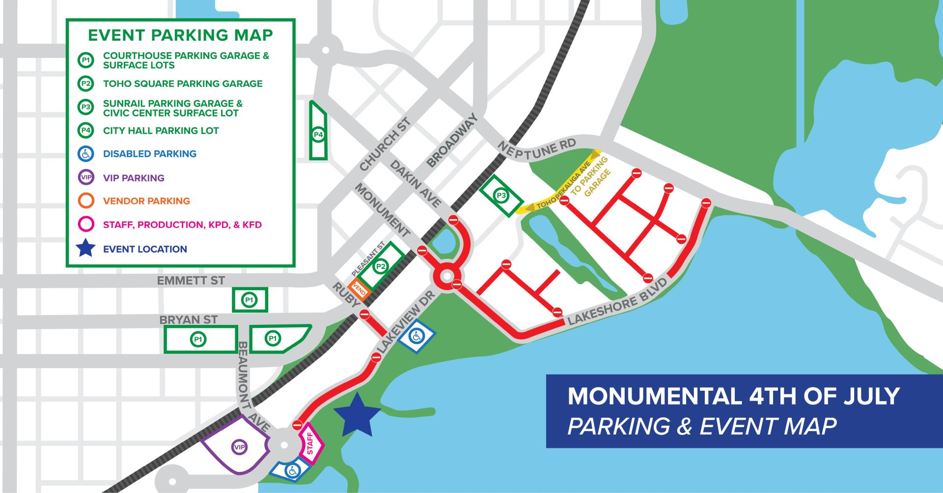 This is a map showing the parking locations for the 2019 Monumental 4th of July event. There is parkign at the Sunrail Parking garage, Toho Square parking garage and Osceola County courthouse parking garage.