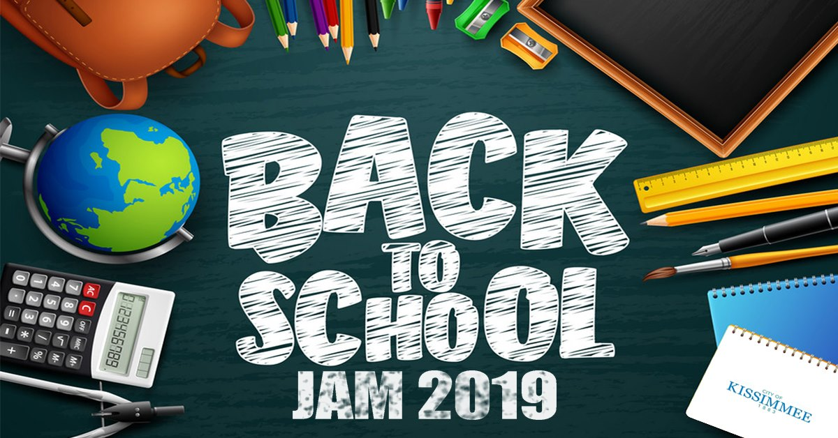 This is a graphic with the logo for the City of Kissimmee's Back to School Jam at Chambers Park Community Center on August 3, 2019.