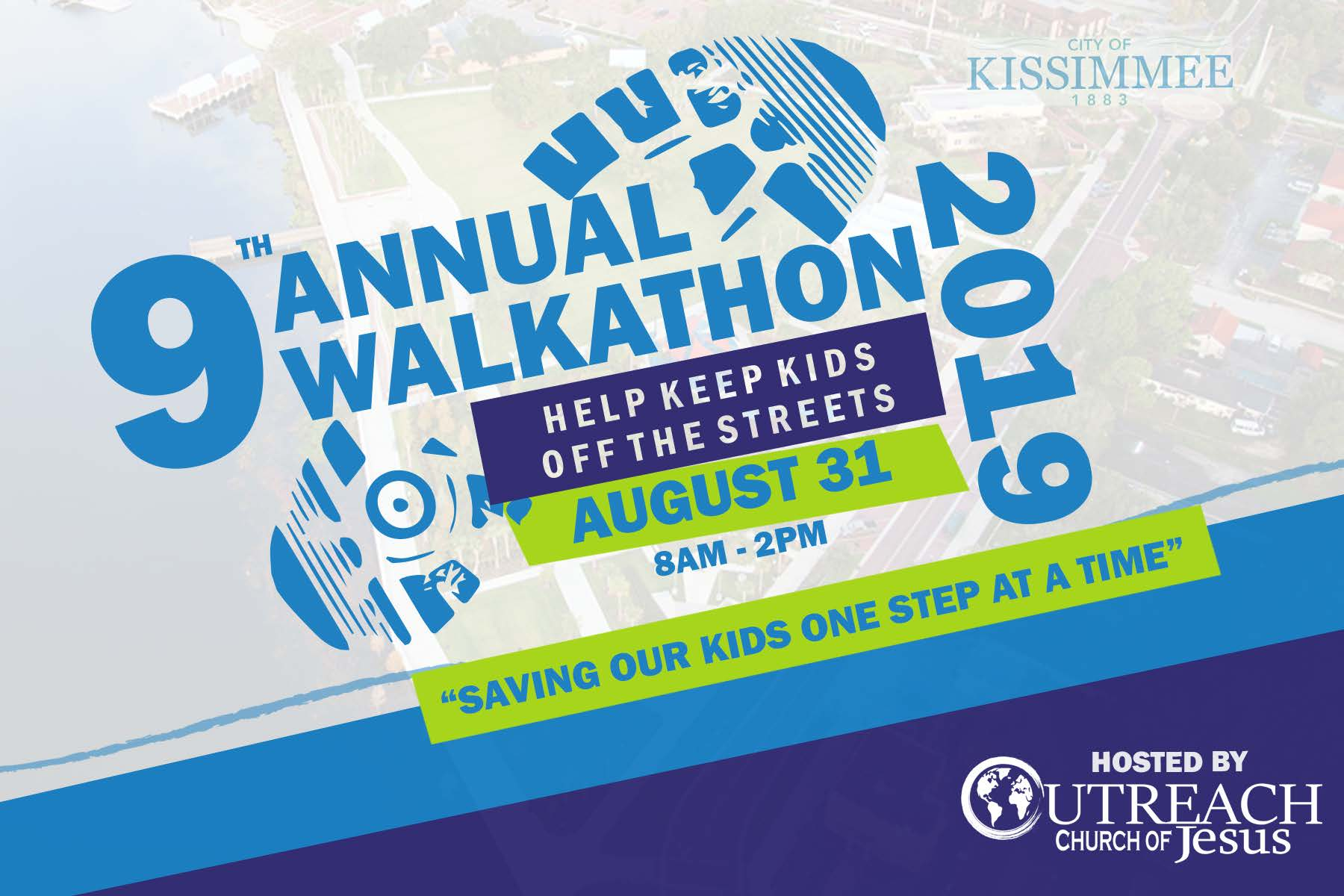 This is a grpaphic for the event HElp Keep Kids Off The Street walk-a-thon, held at Kissimmee Lakefront Park on August 31, 2019.
