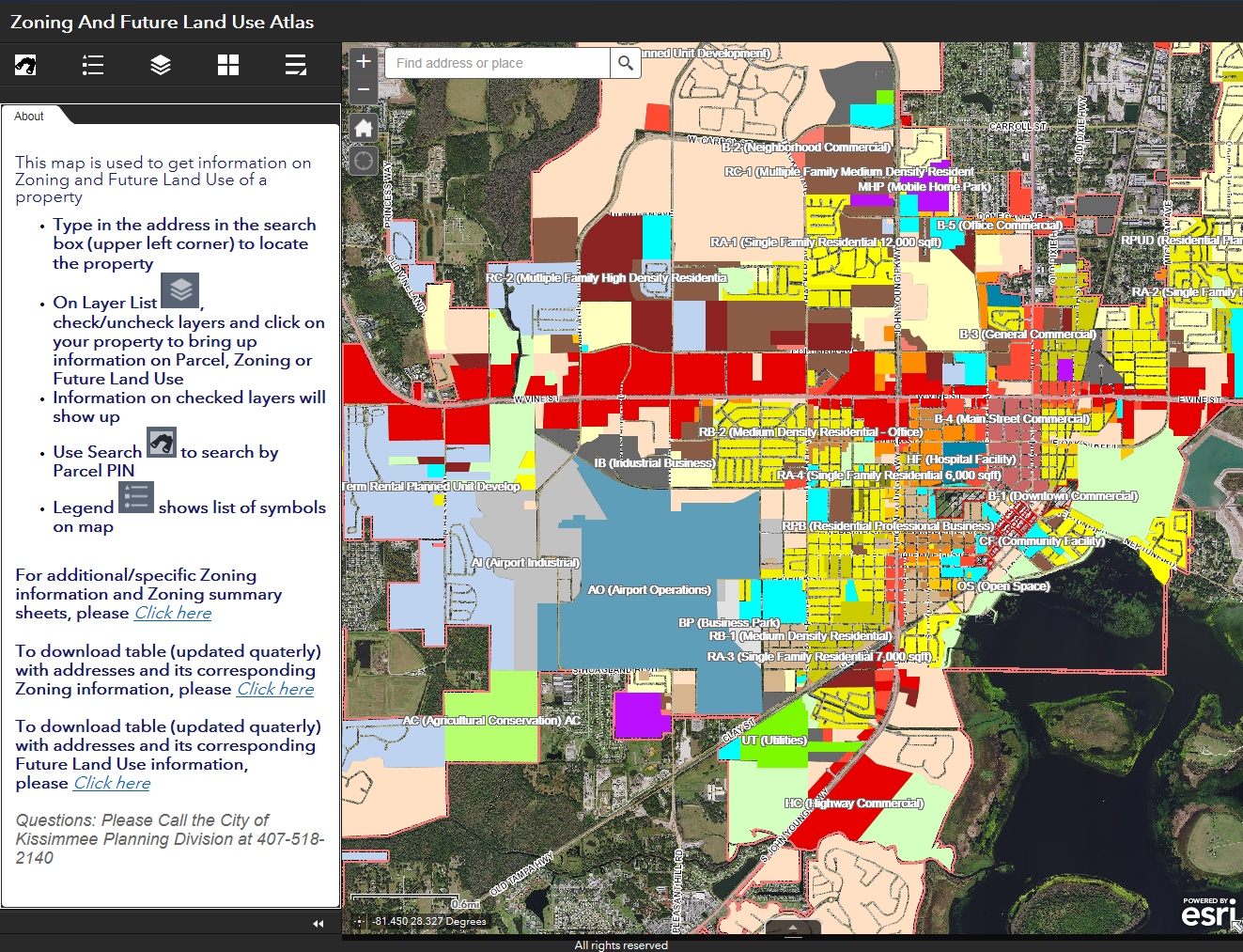 Screen shot of the interactive zoning map