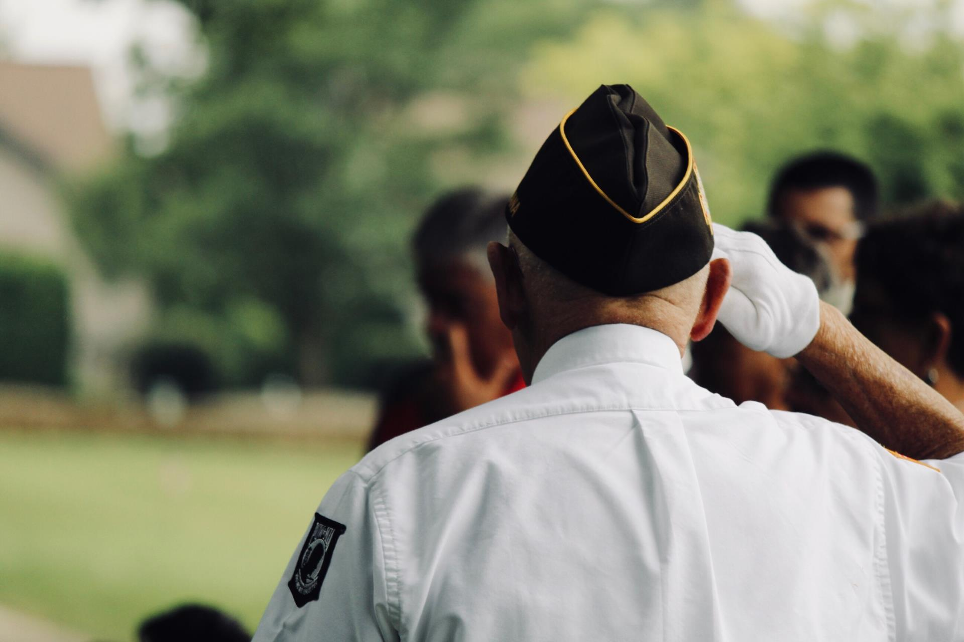 This is a photo of a veteran saluting.