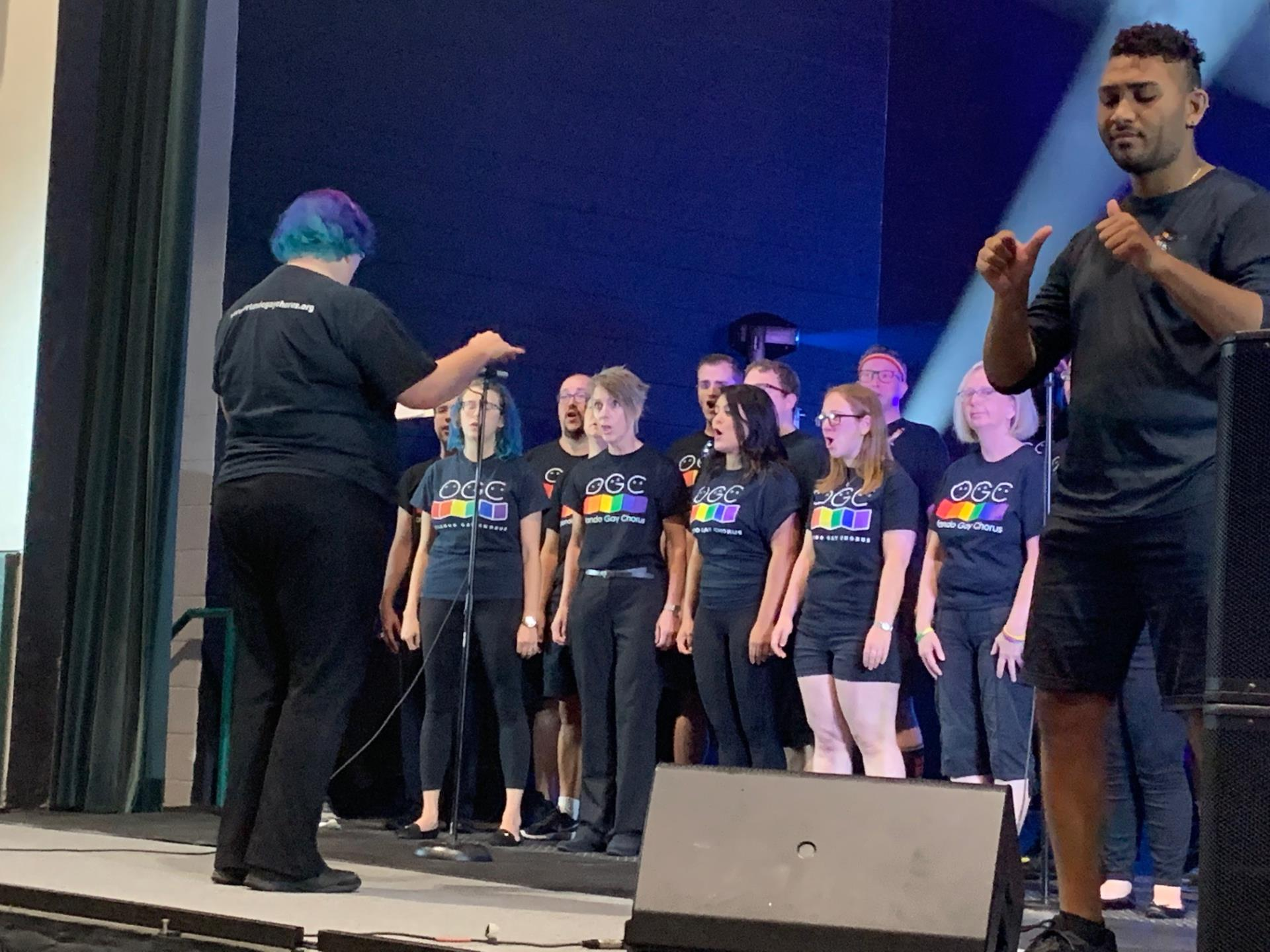 This is a photo of a choir singing at Pridefest Kissimmee at the Kissimmee Civic Center
